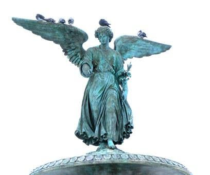Bethesda, Angel, Fountain, Bronze, Statue, Art, Artwork
