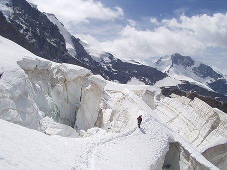 Glacier, Crevasse, Ice, Snow Bridge, North Wall, Rope
