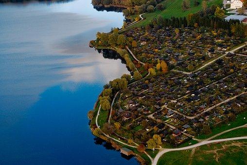 Landscape, Houses, Lake, Blue, Green, Streets, Nature