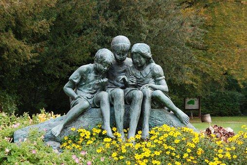 Children, Image, Statue, Brass, Art, Work Of Art