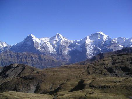 Eiger, Monk, Virgin, Mountains, Grindelwald, Winter