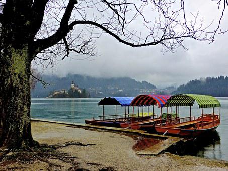 Boats, Bled, Slovenia, Church, Scenery, Scenic, Lake