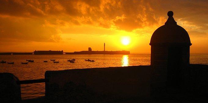 Cadiz, Tourism, Sea, Sunset, Sun, Panorama, Beach