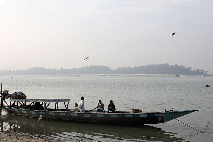 River Ferry, Indian, Brahmaputra River, Village, Ferry