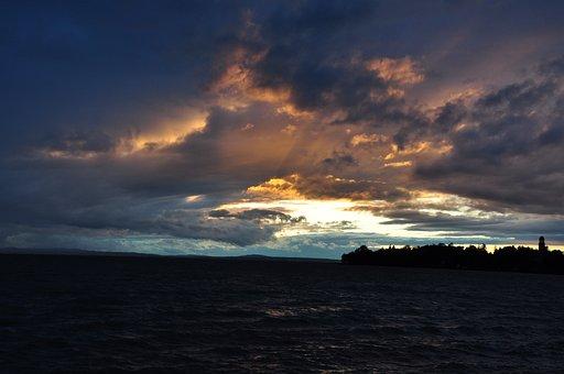 Lake, Abendstimmung, Clouds, After Storm, Evening Sky