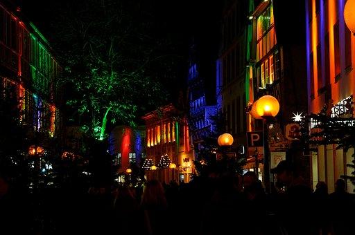 Shopping Street, Evening, Wallwasher, Osnabrück