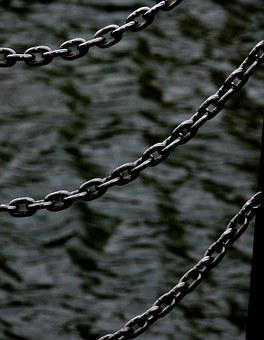 Chains, Sea, Water, Texture Of Sea, Grey Sea, Force