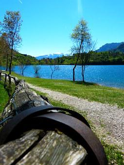 Tenno Lake, Lago Di Tenno, Italy, Away, Railing, Wood