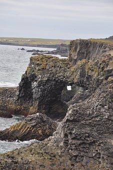Iceland, Lava, Beach, Water, Rock, Black Stone, Erosion