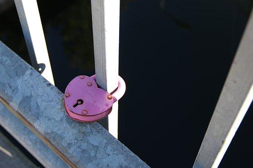 Love, Lock, Bridge, Love Lock, Pink