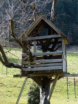 Treehouse, Tree Hut, Home, Vacation, Tree, Play