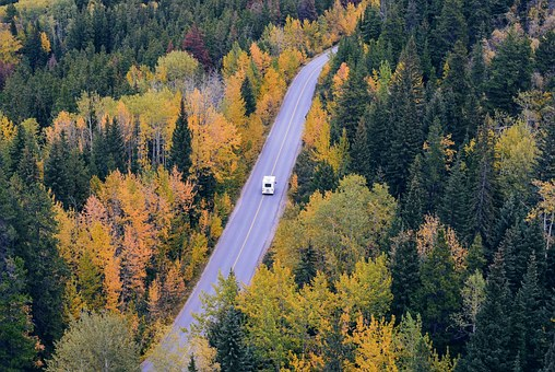Aerial View, Roadway, Fall Landscape, Aerial, Travel