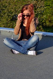 Eliška, Friend, Girl, Beautiful, Roof, View, Glasses