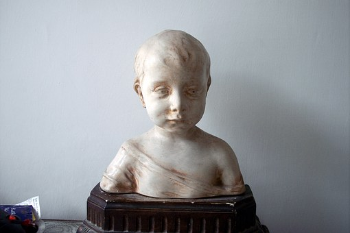 Statuette, Child, Terracotta, Chalk, Sculpture