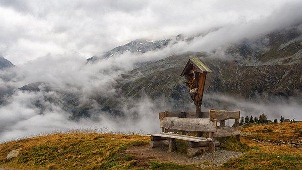 Mountains, Wayside Cross, Landscape, Fog, Clouds, Neves