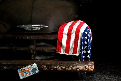 American, Old, Flag, Traditional, Classic, Car