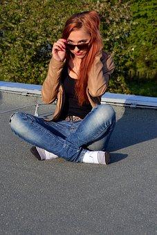 Eliška, Friend, Girl, Beautiful, Roof, View, Glasses
