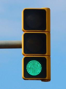 Green Traffic Light, Pass, Free, Symbol, Metaphor