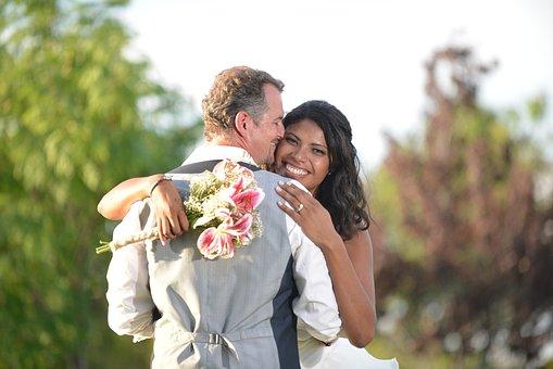 Happy, Woman, Wedding, Married, Couple, In Love