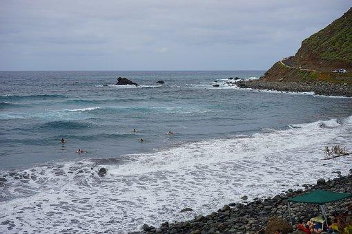 Beach, Lava, Sand, Tenerife, Lava Sand, Sea, Wave