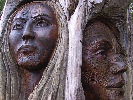 Wood, Carving, Man, Woman, Pair, Old, Maori