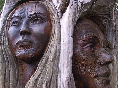 Wood, Carving, Man, Woman, Pair, Old, Maori