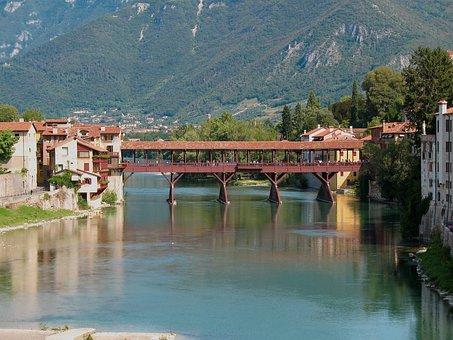 Bassano Del Grappa, Upstream, Bridge, Alpini, Old