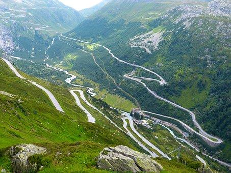 Grimsel Pass, Pass Road, Drive, Mountains, Landscape