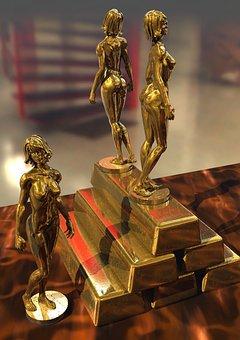Statuettes, Gold, Ingots, Precious, Wealth, Golden