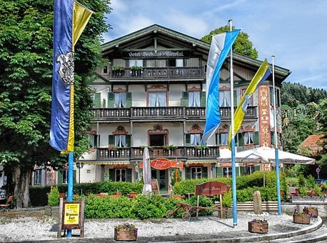 Schliersee, Germany, Hotel, Sky, Clouds, Building