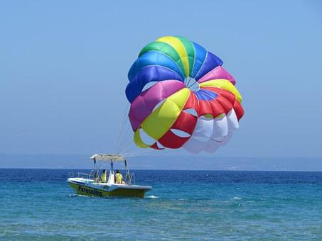 Parachute, Sea, Ship, Greece, Greek Island, At Sea