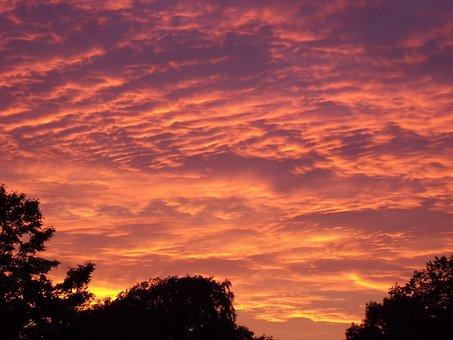 Sunset, Clouds, Rimple, Organge, Sky, Evening, Nature