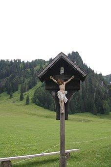 Mountains, Austria, Cross, Wayside, For God's Sake