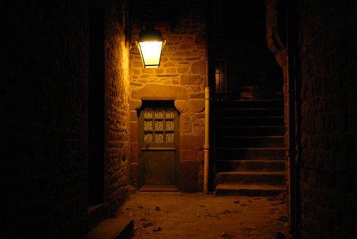 Ancient Door, Street Light, Mont St Michel, France