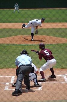Baseball, Baseball Player, Pitcher, Throwing, Umpire