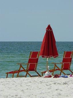 Naples, Florida, Beach, Sea, Sand, Umbrella, Red, Water