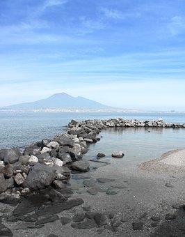 Naples, Castellammare Di Stabia, Vesuvius, Beach