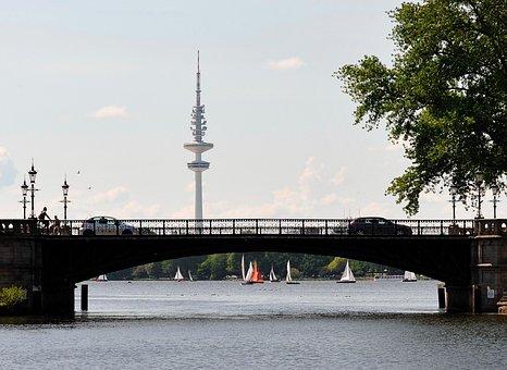 Hamburg, Radio Tower, Alster, Binnenalster, Bridge