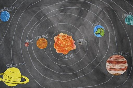 Chalk Drawing, Celestial Body, School Material, Board