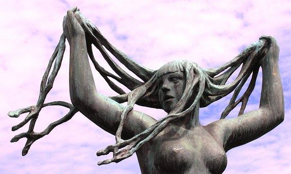 Sculpture, Naked, Bosom, Breasts, Hair, Artwork, Girl