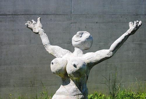 Woman, Fig, Sculpture, Caricatured, Cement, Grey