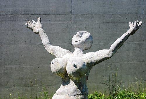 Woman, Figure, Sculpture, Caricatured, Cement, Grey