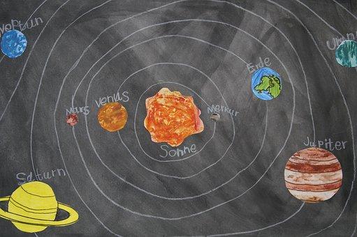 Chalk Drawing, Celestial Body, School Material, Board