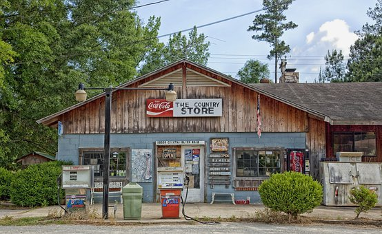 Choctaw Bluff, Alabama, General Store, Gas Pumps
