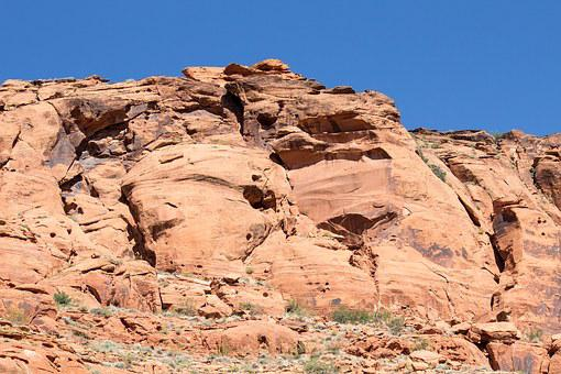 Sandstone, Cliff, Rock, Nature, Landscape, Sky, Blue