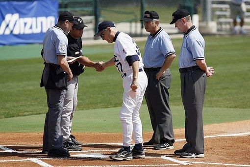 Baseball, Umpires, Coaches, Meeting, Pre-game