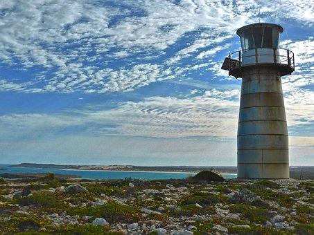 Lighthouse, West Cape, Innes National Park, Coast, Sky