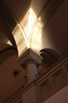 Pillar, Construction Art, Synagogue, Light Effect