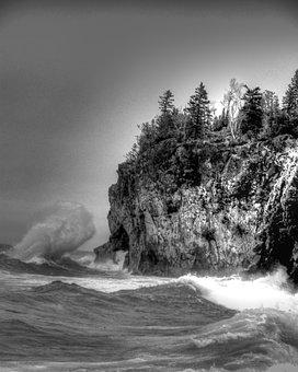 Coast, Waves, Crashing, Bluff, Cliff, Rocky, Shoreline