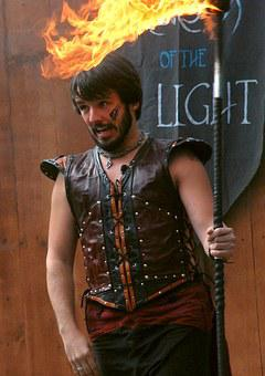 Fire, Dancer, Man, Leather, Flame, Performance, Arms